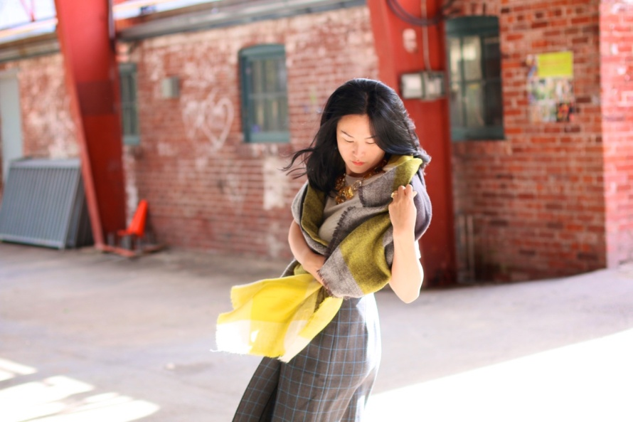 Zara scarf, Miu Miu pleated skirt, Paul Smith cardigan, BCBG necklace, Top Shop jacket, Onizuka Tiger runners