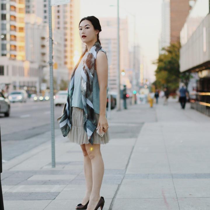 Rag and Bone top, Giorgio Armani silk scarf, Prada heels, H&M skirt,